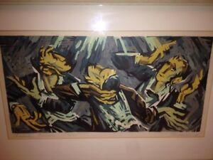 "Samuel Greenburg Modernist Lithograph ""Chassidic Dancers"" Jewish Themed Chicago!"