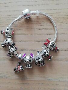 Bracciale con charms Disney Charm Stitch Minnie Minou Simil tipo Pandora