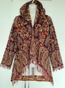 Ladies Tara & Silver Tree Paisley knit Jacket Coat Cardigan tapestry hoodie boho