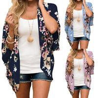 Oversize Women Chiffon Floral Print Kimono Tops Loose Half Sleeve Shawl Cardigan