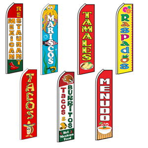 Mexican Food Advertising Flutter Feather Flag Swooper Banner Tacos Menudo Tamale