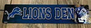 "NEW Detroit Lions Very Cool Premium Plastic ""Lions Den"" Novelty Street Sign"