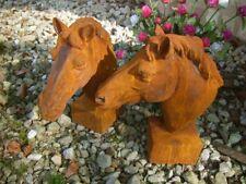 Pferdekopf Skulptur für Pfosten und Mauerpfeiler Gartendeko Pferd  Eisen-Rost