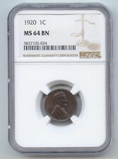 1920 Lincoln Wheat Cent, NGC MS-64 BN, Brown, Deep Blue Color