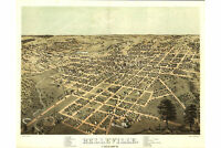 Belleville, Illinois; St. Clair County; Antique Birdseye Map; 1867
