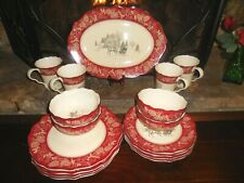 222 Fifth Andover 17 Pc Set Christmas Dinner Salad Serving Plates Bowls Mugs New