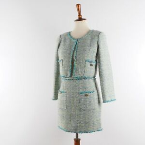 Authentic Vintage CHANEL Cropped Jacket Skirt Suit Set Tweed Green 36 US4 S Rare