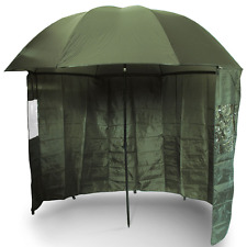 """Carp Fishing 45"""" Green Brolly With Zip On Side Sheet Umbrella Shelter NGT"""