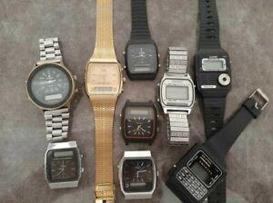 Lot of 9 vintage analog/digital watches: Citizen, Seiko, Wrangler, radio watch..