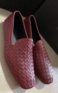 NIB $810 Bottega Veneta Men Leather Loafers Shoes Burgundy/Red 9.5 US/42.5 Eu