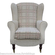 High Back Armchair Beige Red Fabric Wing Chair Queen Anne Fireside Living Room