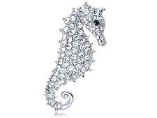 Silver Crystal Rhinestone Seahorse Ocean Fish Animal Fashion Jewelry Pin Brooch