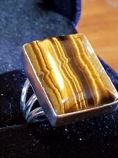 TIGER EYE STERLING SILVER SQUARE CUT LADYS RING SIZE 8 US