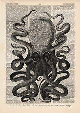 Large Octopus Dictionary Illustration Art Print Vintage Sea Nautical