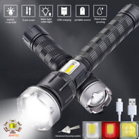 Most Bright XHP90 LED Flashlight 18650/26650 USB Rechargeable Zoom COB Side Lamp