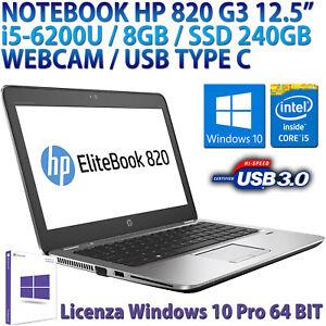 """NOTEBOOK COMPUTER PORTATILE RICONDIZIONATO HP 12.5"""" i5 RAM 8GB SSD 240GB WEBCAM"""