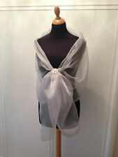 SILVER CRYSTAL ORGANZA WRAP SHAWL EVENING,BRIDE PROM CRUISE BNIP *free samples*