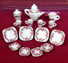 1:12 Scale Doll House Tableware 15PCS Porcelain Tea/Coffee set Dish Cup Plate