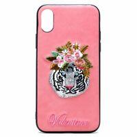 iPhone X (Ten) Design Cloth Stitch Hybrid Case (Pink Tiger)