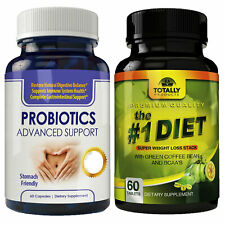 Probiotic Digestive Support & Green Coffee Bean 100% Fat Burn Caps Free Shipping
