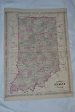 New listing 1864 Map of Indiana by A.J. Johnson Hand Colored