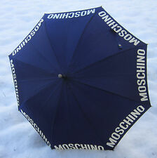 MOSCHINO Satin Silk Royal Blue Large High Couture Fashion Umbrella Parasol RARE