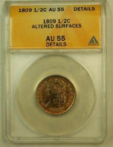 1809 Classic Head Half Cent H1c C-6 ANACS AU-55 Details Altered Surfaces