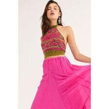 Free People South Coast Halter Embroidered Green Pink Top Size Small S NEW