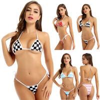 Damen Japanischen Micro Bikini Set Triangel BH mit G-String Zweiteiler Bademode