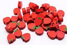 Apple Wooden Bead Bright Red Fruit Shape Bracelet Making Supplies 16mm 100pcs
