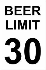 *Aluminum* Beer Limit 30 8 x 12 Metal Novelty Sign  s602