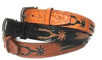 MEN'S WESTERN LEATHER BELT.1.5 inch wide HAND BRAIDED CASUAL WORK RODEO BELT