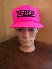Vintage Zebco Fishing Neon Hot Pink Trucker Hat SnapBack Baseball Cap Retro