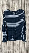 New listing Women's Navy Blue/White Horizontal Striped Long Sleeve T-Shirt Thin Fabric Sz XL