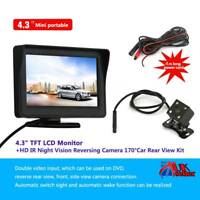 "Car Rear View Camera 4.3"" Parking Kit Foldable LCD Monitor Wireless IR Reversing"