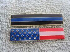 Thin Blue Line & US Flag Citation Bars Two Piece Set Merit Badges TBL