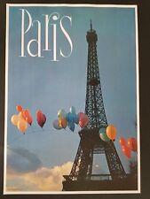 ORIGINAL 1960's PARIS FRANCE EIFFEL TOWER TRAVEL POSTER EUROPE VINTAGE 60s
