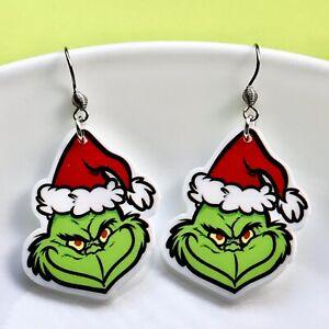 THE GRINCH Christmas Fun Dangle Acrylic Earrings/Quirky