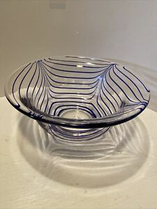 Art Glass Hand Blown Blue and Clear Glass Bowl Marked  W/ M Maybe Murano