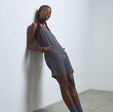 Lunya Cool Short Romper Size Medium In Gray Striped