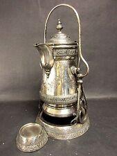 1879 Engraved Wilcox Quadruple Silver Plate Tilting Coffee Pot on Stand Sandovar