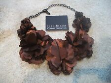 JOAN RIVERS Statement NECKLACE Bronze Fabric Foral Choker NIB Great Gift
