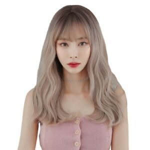 Korean Medium-Length Long Curly Wavy Wig with Bangs, Natural Heat-Resistant Wigs