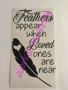 Feathers Appear When Loved Ones Are Near Wine Bottle vinyl Decal