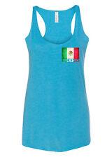 New Women's Mexico Flag Chest C6 Aqua Triblend Racerback Tank Top Mexican Symbol
