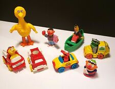 LOT OF 8 Sesame Street PVC Die Cast Vintage Figures Cars Cake Topper Toys