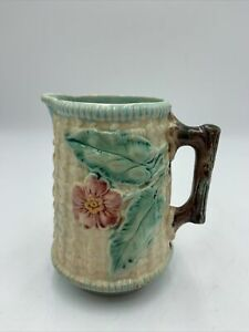 """Antique Majolica Small Pitcher Creamer Basket Weave Red Flowers Posies 4 3/4"""""""