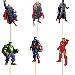 24 pieces avengers superheros cake cupcake toppers 24pcs