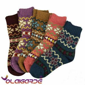 5 Pairs Women Ladies Winter Warm Soft Wool Thick Socks Nordic Novelty Sock UK
