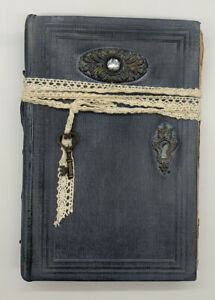 Painted Embellished Book Faux Lock and Key Farmhouse Shabby Chic Rustic Décor